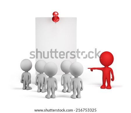 People read an important announcement. 3d image. White background. - stock photo