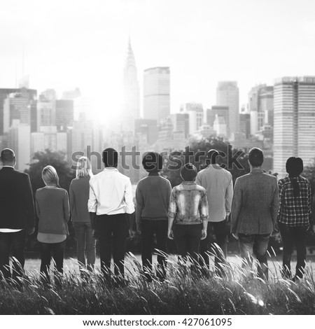 People Rear View Togetherness Corporate Team Concept - stock photo