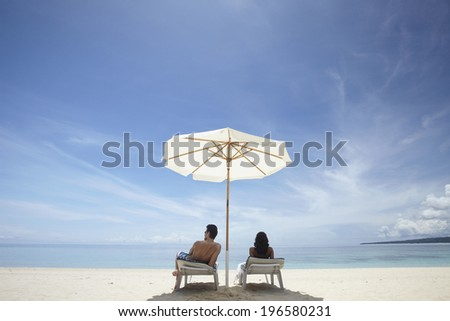 people relaxing at the beautiful beach,Boracay in Philippine