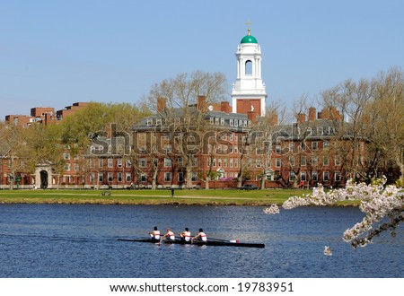 People rowing, running and walking around Harvard University in the spring