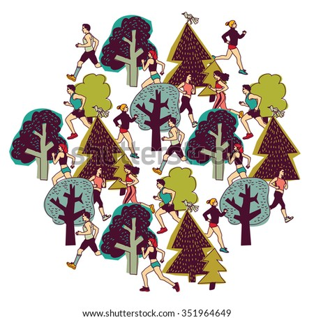 People run in park color isolate on white. Group people run between trees. Color illustration.  - stock photo