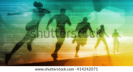 People Running Silhouette Background Illustration as Concept 3D Illustration Render