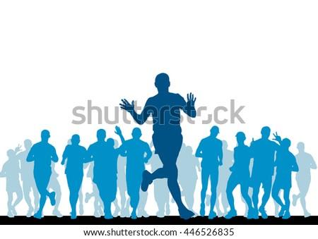 People running. Sport illustration - stock photo
