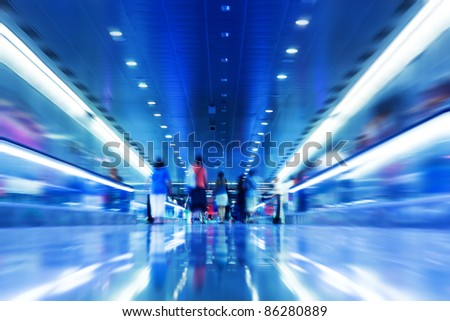 People rush in subway. Conceptual motion blur, fast pace of life - stock photo