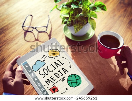 People's Desk with Tablet Social Media Concept - stock photo