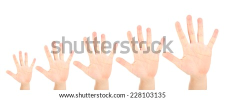 People's hands isolated on white