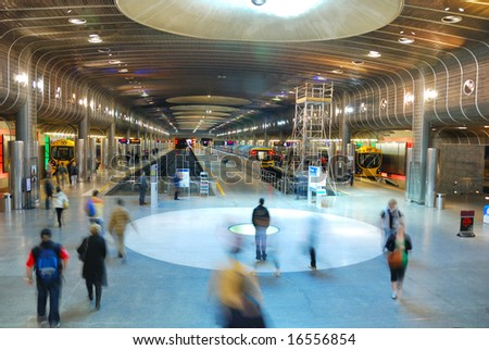 people's motion on subway platform in Auckland Britomart Transport Center, New Zealand - stock photo