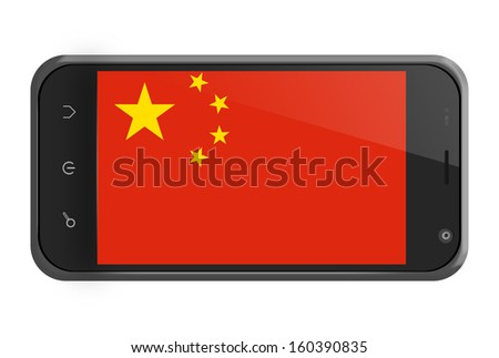 People's Republic of China flag on smartphone screen isolated on white - stock photo