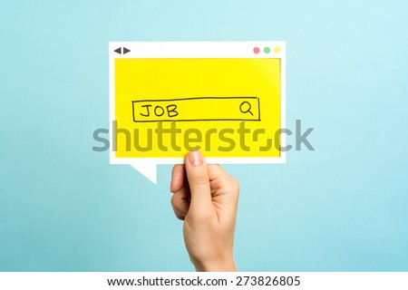 People searching for a new job. Job search concept on blue background. - stock photo