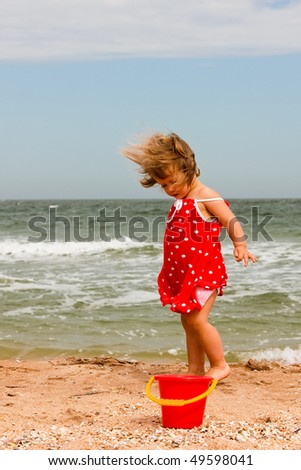 people series: little girl play with sand