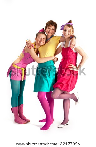 people series: three young girls in bright clothes