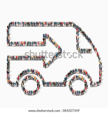 people  shape  car transportation icon - stock photo