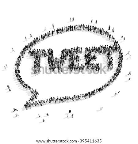 people  shape  chat bubble cartoon , tweet - stock photo