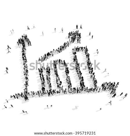 people  shape  graph success - stock photo