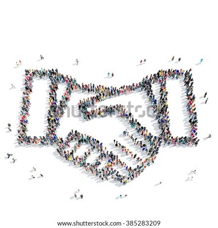people shape  handshake partnership - stock photo