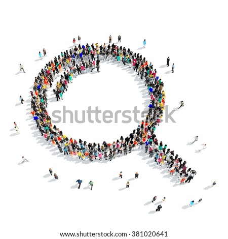 people  shape  magnifying glass 3D - stock photo