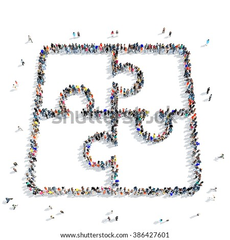 people shape  puzzle icon - stock photo