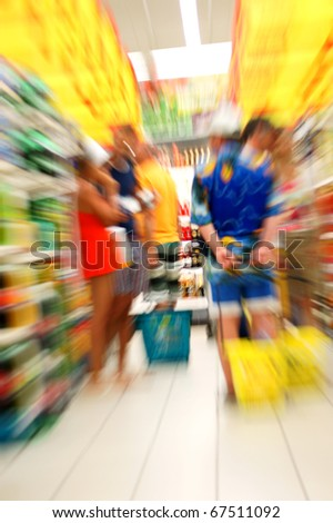 people shop in grocery store - stock photo