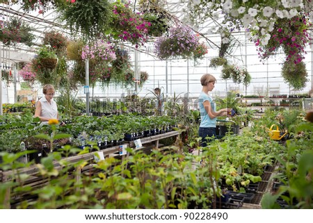 People shopping for plants at garden center - stock photo