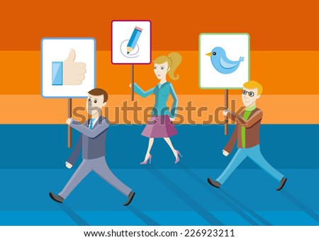 People showing posters with icons. Social network structure as concept. Raster version - stock photo