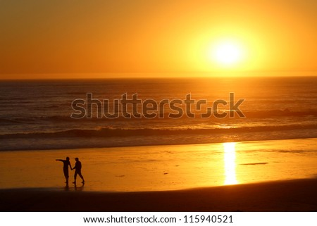 People Silhouette at Sunset, California - stock photo