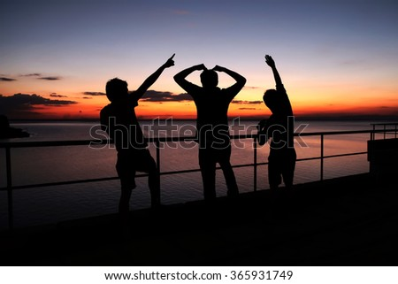 People silhouette photo, sunrise photo of friendship, men