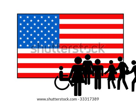 People silhouetted on stars and stripes American flag, isolated on white background.