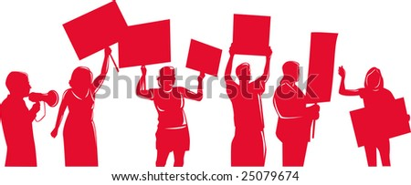 People silhouettes protesting - stock photo