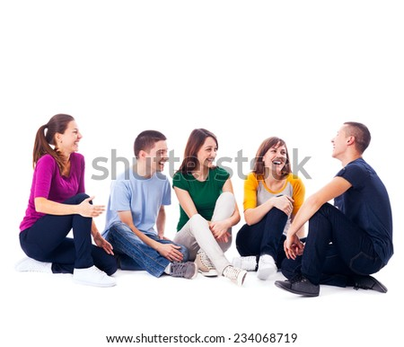 People Sitting on the Floor and Chatting - stock photo