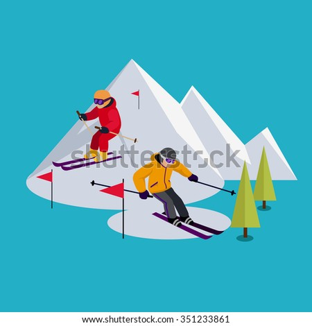 People skiing flat style design. Skis isolated, skier and snow, cross country skiing, winter sport, season and mountain, cold downhill, recreation lifestyle, activity speed extreme. Raster version - stock photo