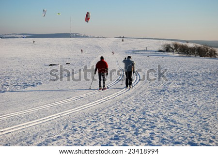 People skiing in Germany - stock photo