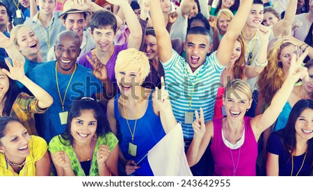 People Smiling Happiness Celebration Concert Event Excitement Concept - stock photo