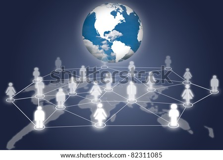 People social network communication social network with earth. - stock photo