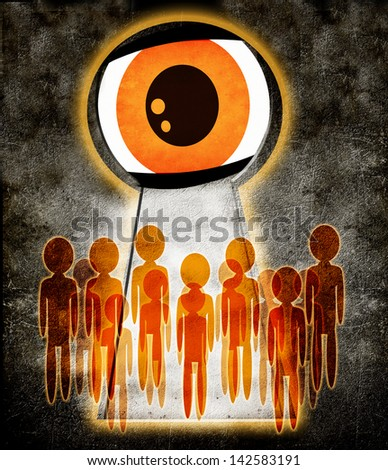 people spied on  through  the keyhole - stock photo