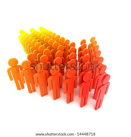 People stand in the form of an arrow. - stock photo