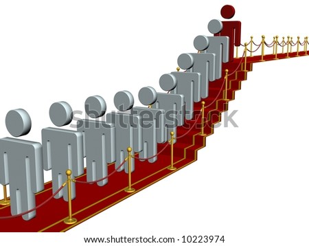 People standing on a red carpet path. 3D image.