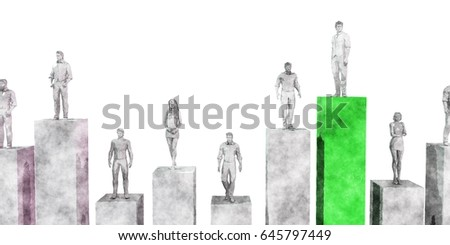 People Standing on Financial Bar Graph Chart 3D Illustration Render