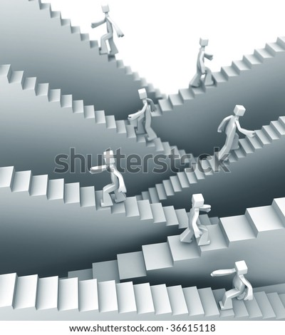 People stepping on staircase moving up direction 3d illustration - stock photo