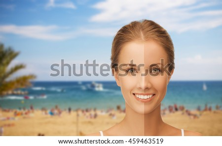 people, suntan, travel and summer holidays concept - close up of beautiful smiling woman with half face tanned over resort beach background - stock photo