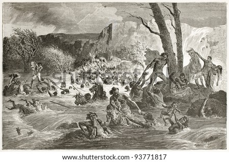 People swept by floods in Abyssinia. Created by Bayard after Lejean, published on Le Tour du Monde, Paris, 1867 - stock photo