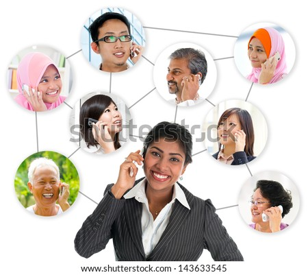 People talking on the phone. Collage made network connection of diversity races. Asian communication concept.