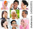 People talking on the phone. Collage made of nine pictures of diversity races. Asian communication concept. - stock photo
