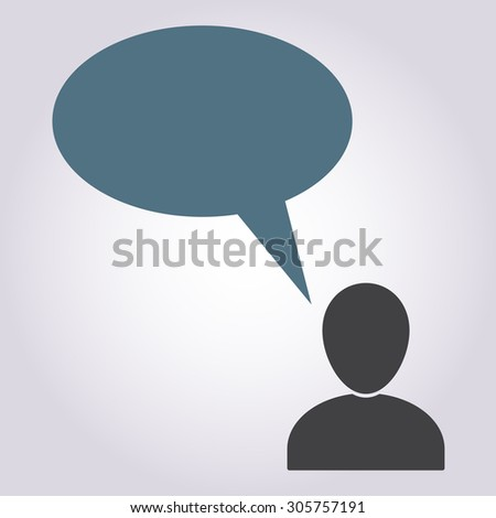 People talking symbol. Communication icon or sign with speech bubble and space for text. Infographic element. - stock photo