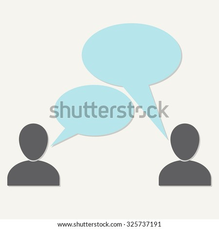 People talking symbols on white background. Communication icon or sign with speech bubbles and space for text. Infographic element.  - stock photo