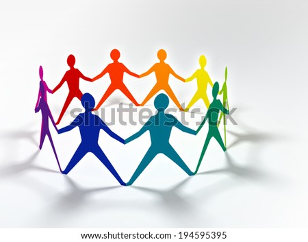 people team in circle chain colorful on white background