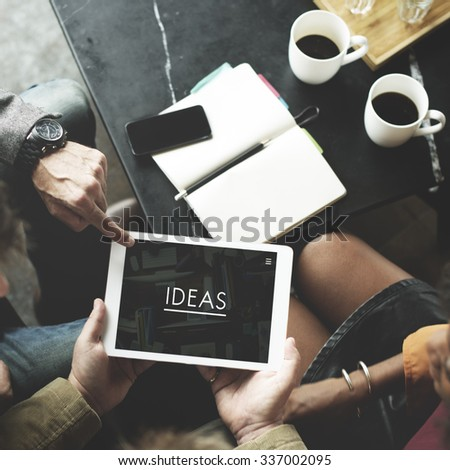 People Team Working Together Ideas Tablet Concept - stock photo