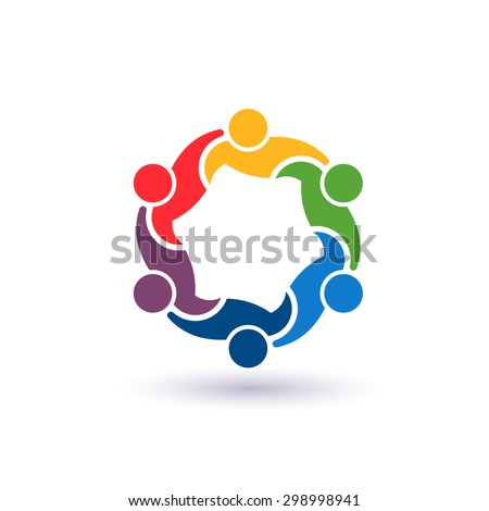 People Teaming group 6. - stock photo