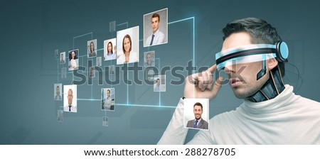 people, technology, future and progress - man with futuristic 3d glasses and microchip implant or sensors over blue background with network contacts icons - stock photo