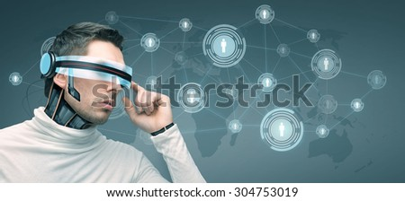 people, technology, future and progress - man with futuristic 3d glasses and microchip implant or sensors over blue background with world map and network contacts icons