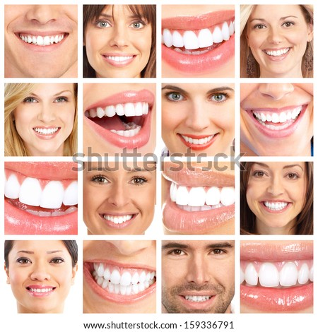 People teeth collage. Man and woman portrait isolated. - stock photo